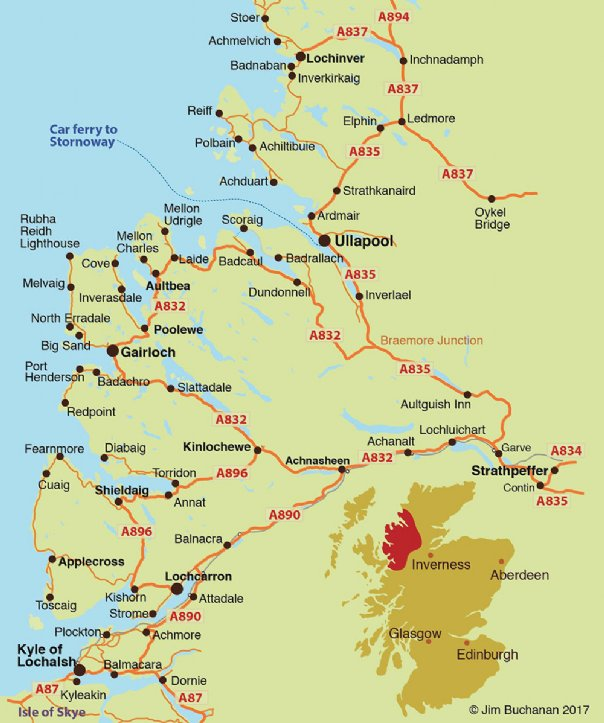 visit wester ross wester ross map from lochcarron to ullapool in